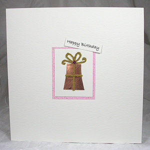 Wholesale Handmade Greeting Cards - Wrapped Gift with Pink